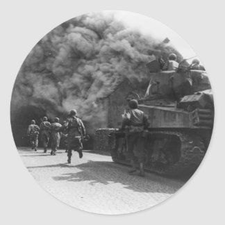 Soldiers of the 55th Armored Infantry World War II Round Sticker