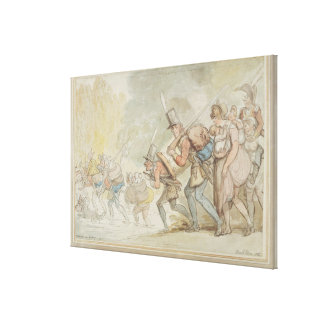 Soldiers on a March, 1805 (pen & ink and watercolo Canvas Print