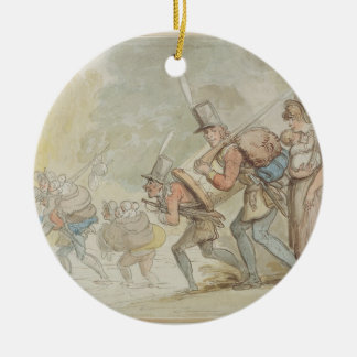 Soldiers on a March, 1805 (pen & ink and watercolo Christmas Ornament