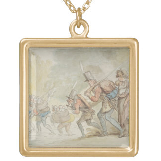 Soldiers on a March, 1805 (pen & ink and watercolo Gold Plated Necklace