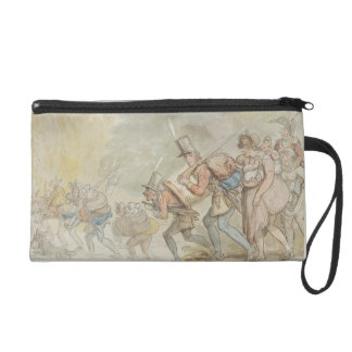 Soldiers on a March, 1805 (pen & ink and watercolo Wristlet Clutch