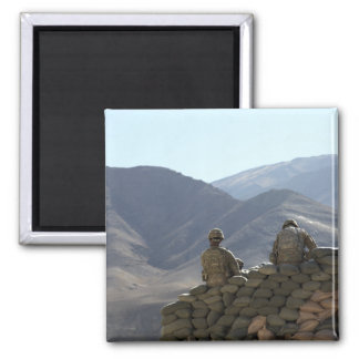 soldiers run communications equipment square magnet