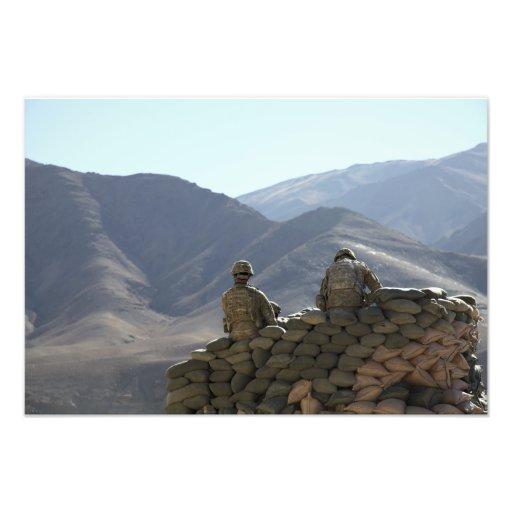 soldiers run communications equipment photo print