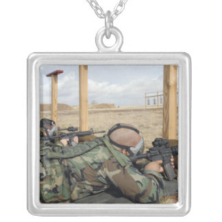 Soldiers sight M-4 rifles down range Silver Plated Necklace