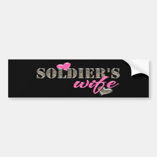 Soldier's Wife Camo and Pink Bumper Stickers