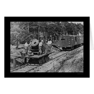 Soldiers with a Cannon on a Railroad Car 1864 Card