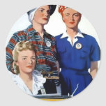 Soldiers without guns vintage poster round sticker