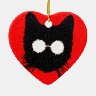 Solemn Hipster Cat with Glasses Silhouette Christmas Ornament
