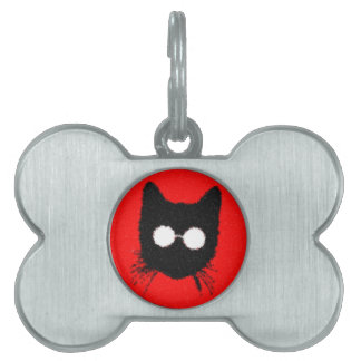 Solemn Hipster Cat with Glasses Silhouette Pet Tag