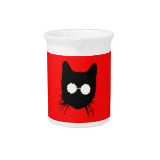 Solemn Hipster Cat with Glasses Silhouette Pitcher