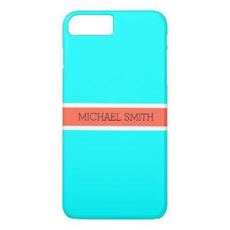 Solid Aqua Modern Tomato Ribbon Elegant Name iPhone 8 Plus/7 Plus Case
