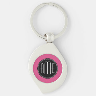 Solid Black and Hot Pink with Monogram Key Chain