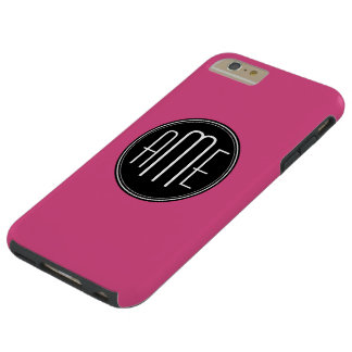 Solid Black and Hot Pink with Monogram Tough iPhone 6 Plus Case
