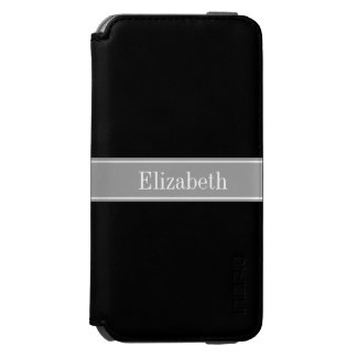 Solid Black, Dark Gray Ribbon Name Monogram Incipio Watson™ iPhone 6 Wallet Case