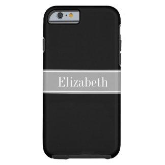Solid Black, Dark Gray Ribbon Name Monogram Tough iPhone 6 Case