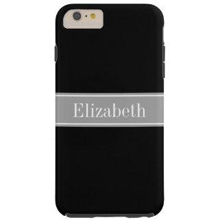 Solid Black, Dark Gray Ribbon Name Monogram Tough iPhone 6 Plus Case