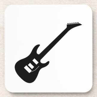 Solid Black Electric Guitar Coaster