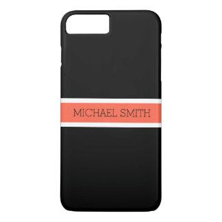 Solid Black Modern Tomato Ribbon Elegant Name iPhone 8 Plus/7 Plus Case