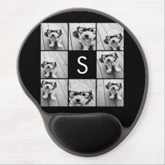 Solid Black Photo Collage Custom Monogram Gel Mouse Mat