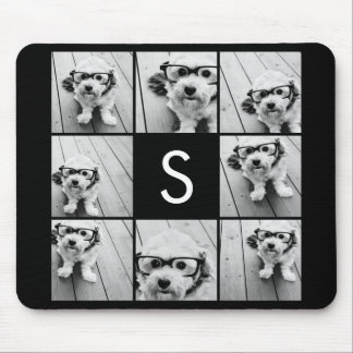 Solid Black Photo Collage Custom Monogram Mouse Mat