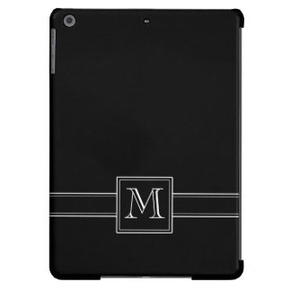 Solid Black with Monogram iPad Air Cover