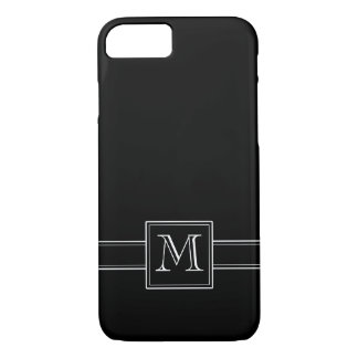 Solid Black with Monogram iPhone 7 Case