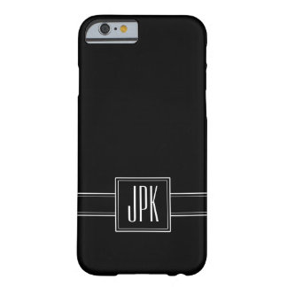 Solid Black with Triple Monogram Barely There iPhone 6 Case