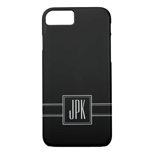 Solid Black with Triple Monogram iPhone 7 Case