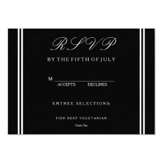 Solid Black with White Wedding Detail 11 Cm X 16 Cm Invitation Card