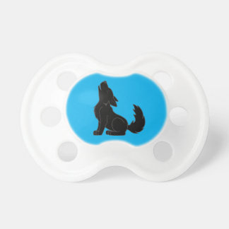 Solid Black Wolf Pup Howling Baby Pacifiers