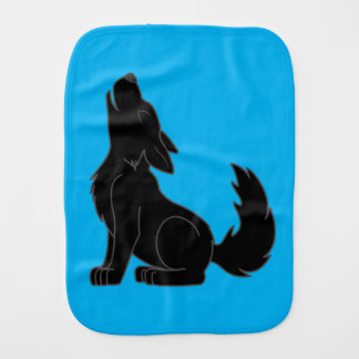 Solid Black Wolf Pup Howling Burp Cloth