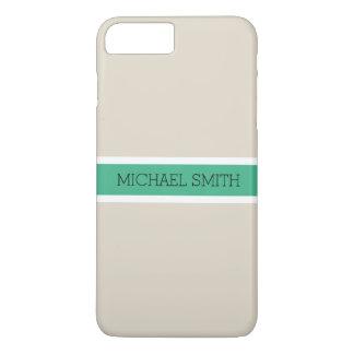 Solid Bone Modern Mint Ribbon Elegant Name iPhone 8 Plus/7 Plus Case
