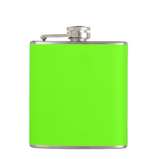 Solid bright green colour hip flask