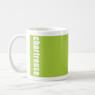 solid bright green mug with colour name,chartreuse