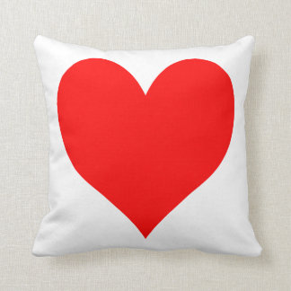 Solid Bright Red Cute Heart Cushion