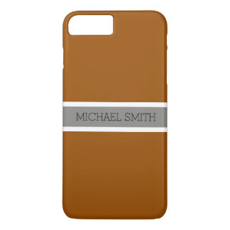 Solid Brown Modern Gray Ribbon Elegant Name iPhone 8 Plus/7 Plus Case