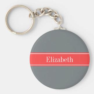 Solid Charcoal Gray Coral Red Ribbon Name Monogram Key Ring