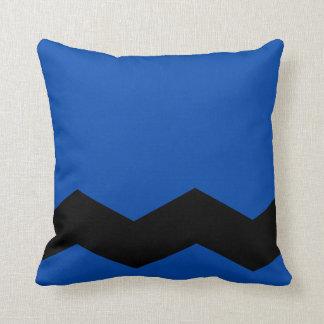 Solid Cobalt Blue and Zig Zag Design Throw Pillow