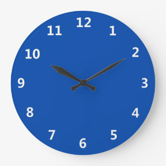 Solid Cobalt Blue with White Numbers Wall Clock