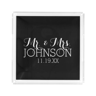 Solid Color Black Mr & Mrs Wedding Favors Acrylic Tray