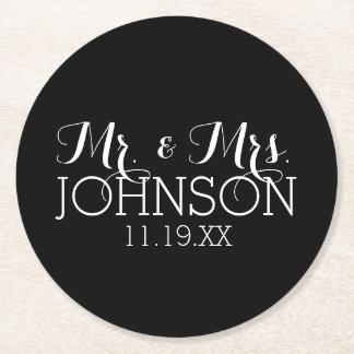 Solid Color Black Mr & Mrs Wedding Favors Round Paper Coaster