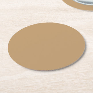 Solid Color: Camel Brown / Tan Round Paper Coaster
