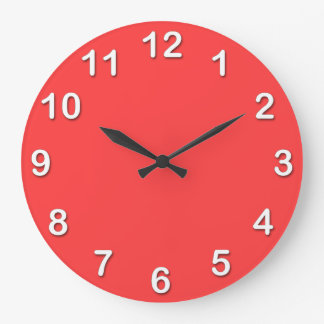 Solid Color: Coral Red Large Clock