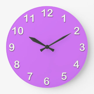 Solid Color: Lilac Purple Large Clock