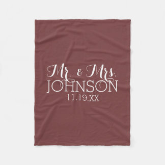 Solid Color Marsala - Mr & Mrs Wedding Favors Fleece Blanket