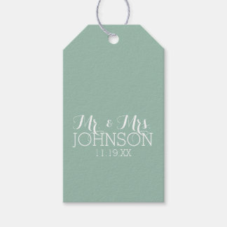 Solid Color Mint Green - Mr & Mrs Wedding Favors Gift Tags