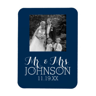 Solid Color Mr & Mrs Wedding or Anniversary Favor Magnet
