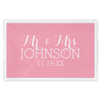 Solid Color Pastel Pink - Mr & Mrs Wedding Favors Acrylic Tray