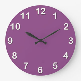 Solid Color: Plum Purple Large Clock