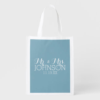 Solid Color Robin Egg Blue Mr & Mrs Wedding Favors Reusable Grocery Bag